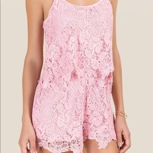 Francesca's Irene Big Lace Blouse Romper